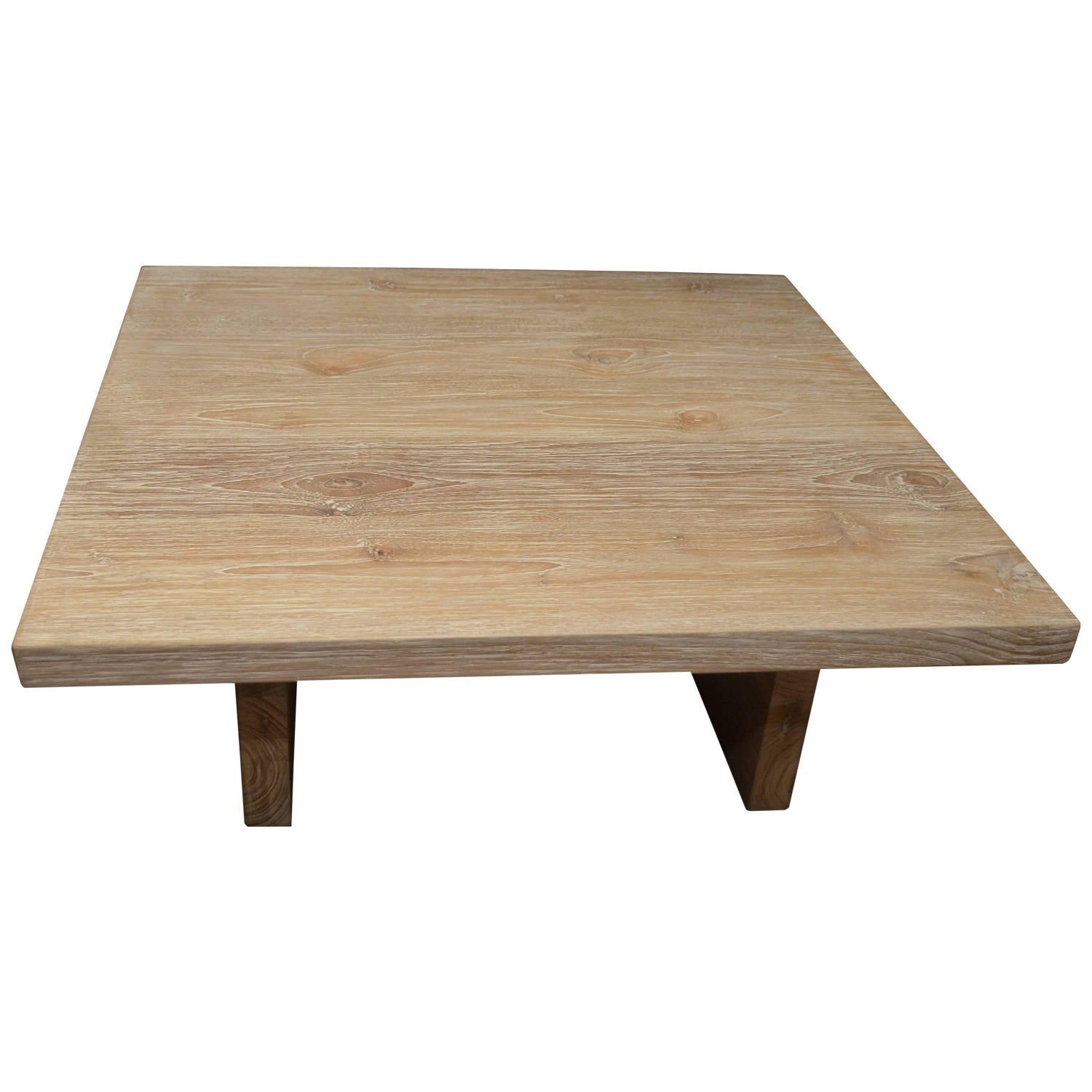 Simple Minimalist Coffee Table with Striated Wood Veneer at 1stdibs