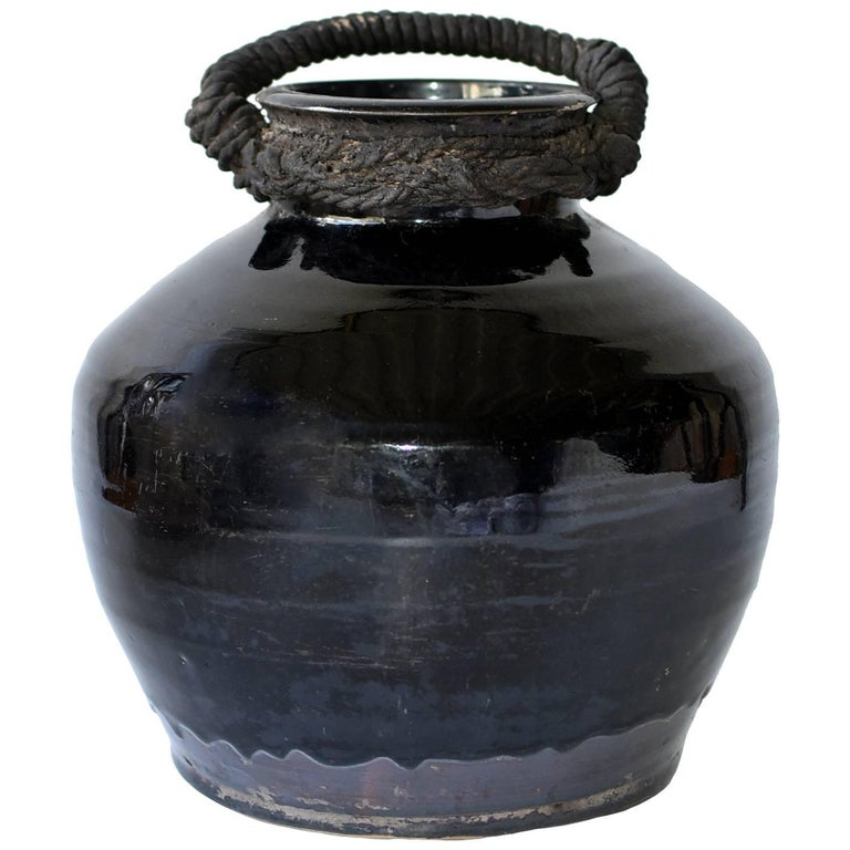 Antique Black Jar with Rope, Handmade Chinese Pottery