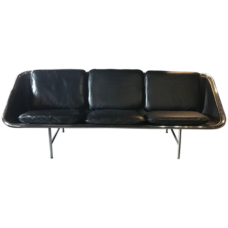 "George Nelson ""Sling"" Sofa Black Leather for Herman Miller"