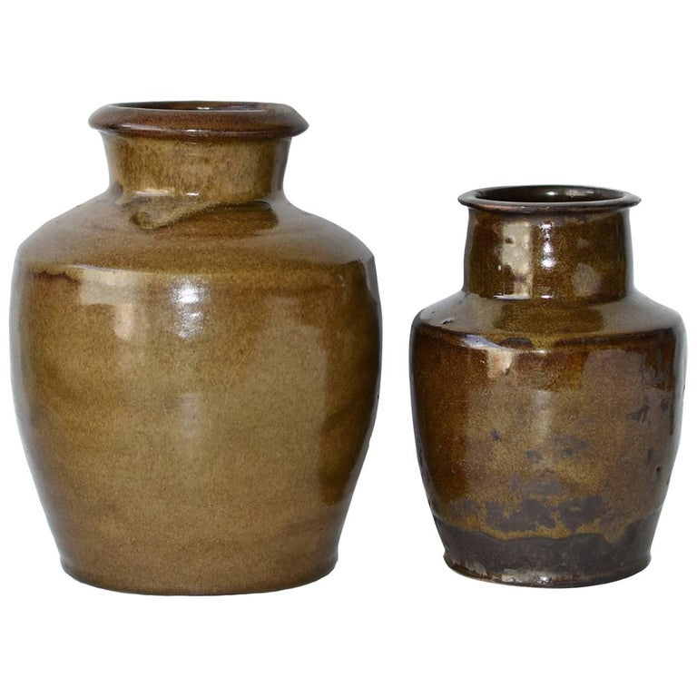 Antique Olive Jars Set of Two, Handmade Chinese Pottery