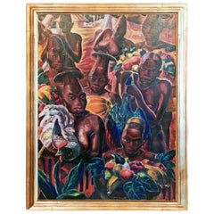"""Mangbetu Coming to Market,"" Large Art Deco Master Painting by Paul Travis"