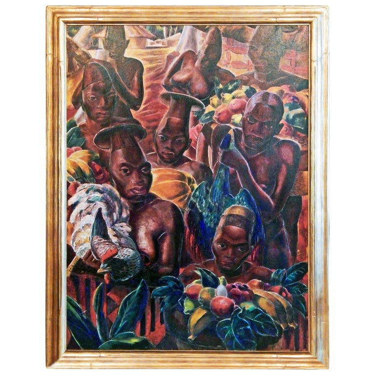"""At the Market, Congo,"" Large Art Deco Master Painting by Paul Travis For Sale"