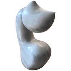 White Carrara Marble Abstract Biomorphic Mid Century Sculpture by Mario Denoto