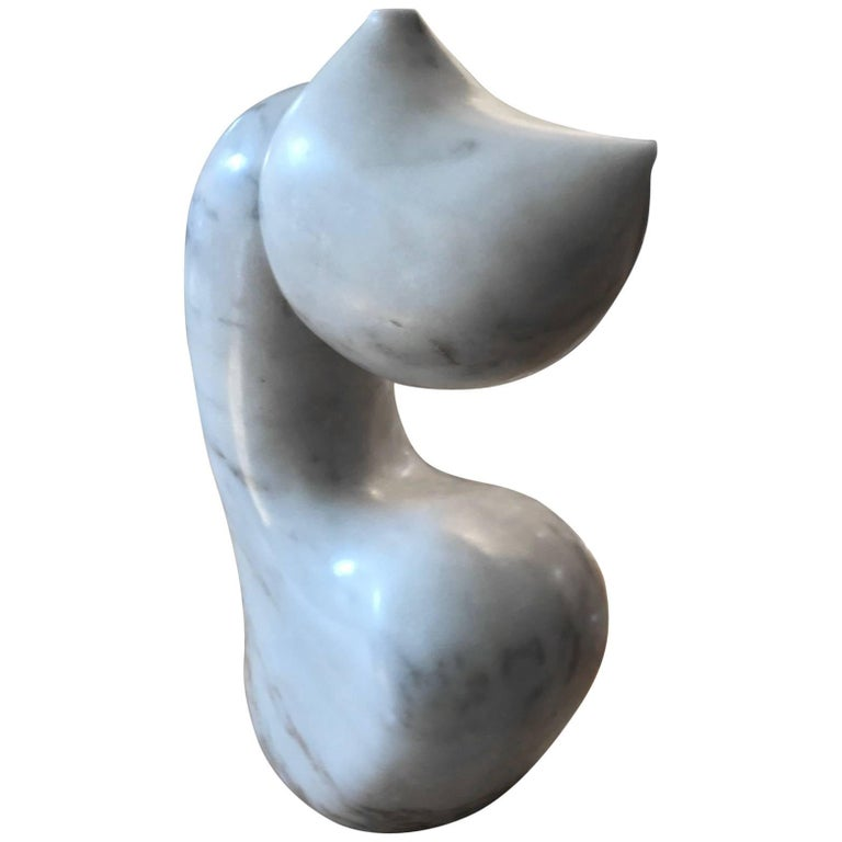 Abstract Biomorphic White Marble Sculpture by Mario Denoto