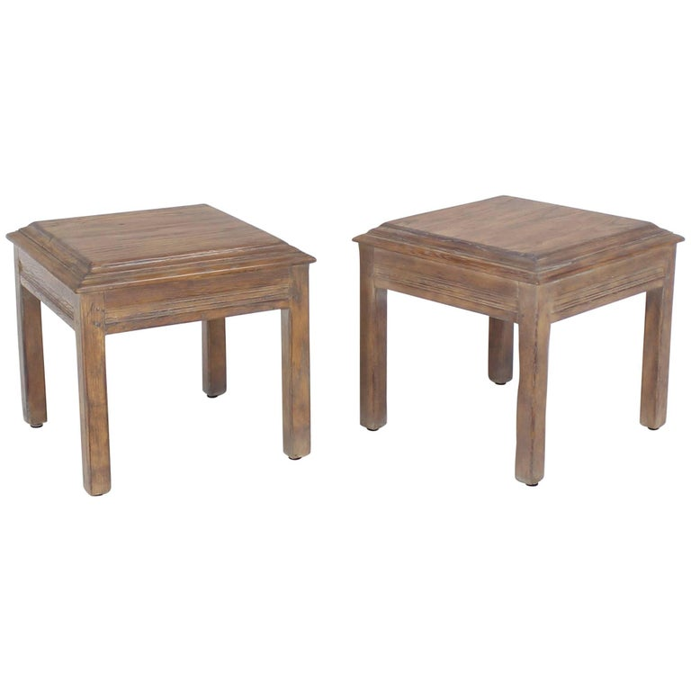 Pair of Solid Oak Cerused Pickled White Wash Square End Tables