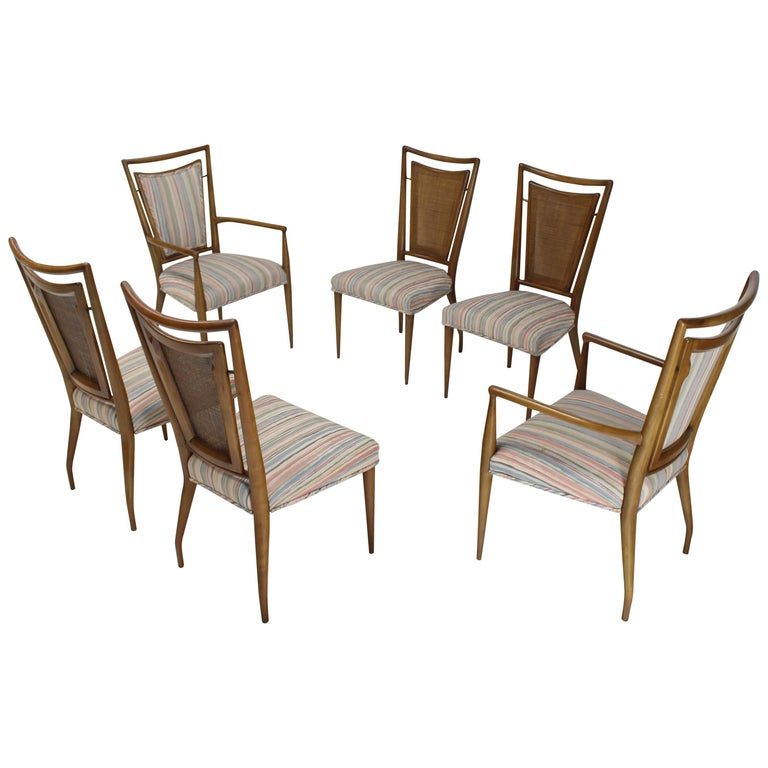 Set of Six Mid-Century Modern Walnut Dining Chairs by Widdicomb in Ponti Style