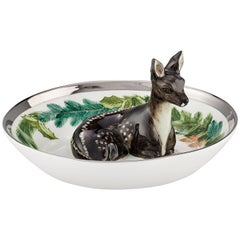 Black Forest German Porcelain Bowl with Deer Figure and Garlande