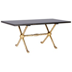 Rectangular Black Lacquer and Gold Leaf Table