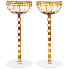 Otto Prutscher Pair of Rare Wine Glasses Wiener Werkstatte circa 1908 Meyr's Nef