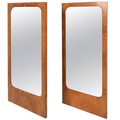 Pair of Mid-Century Modern Burl Mirrors by Lane Furniture