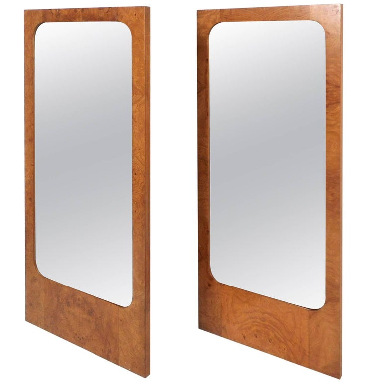 Pair of Mid-Century Modern Burl Mirrors by Lane Furniture For Sale