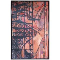 """Art Deco 1930s Oil Painting """"Shipbuilding"""""""