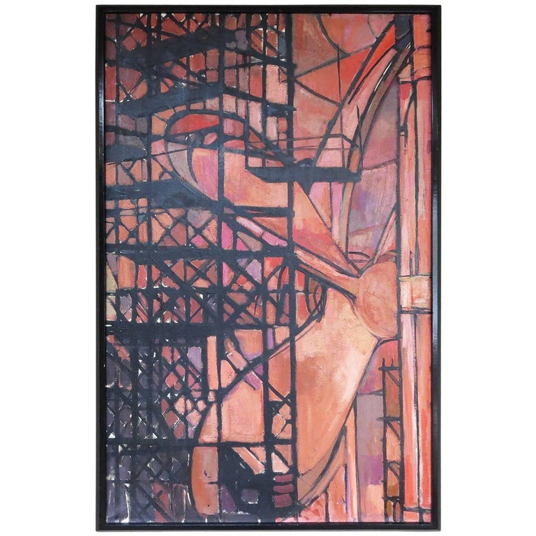 "Art Deco 1930s Oil Painting ""Shipbuilding"""