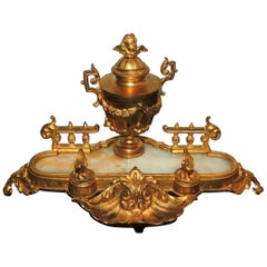 Wonderful French Doré Bronze Marble Ormolu Onyx Cherub Urn Shell Inkwell