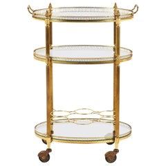 Antique Brass Oval Drinks Trolley