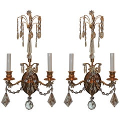 Wonderful Pair of French Dore Bronze Neoclassical Two-Arm Draped Crystal Sconces