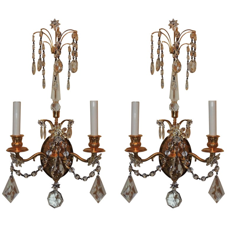 Wonderful Pair of French Dore Bronze Neoclassical Two-Arm Draped Crystal Sconces For Sale