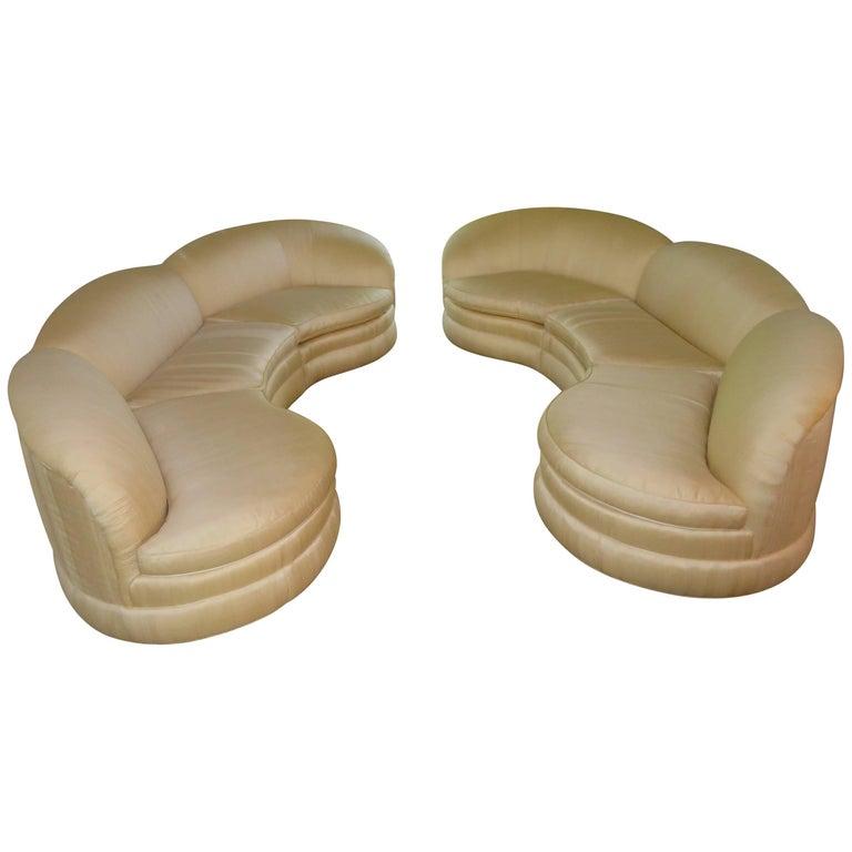 Pair of Vladimir Kagan Style Three-Piece Sectional Sofas Mid-Century Modern