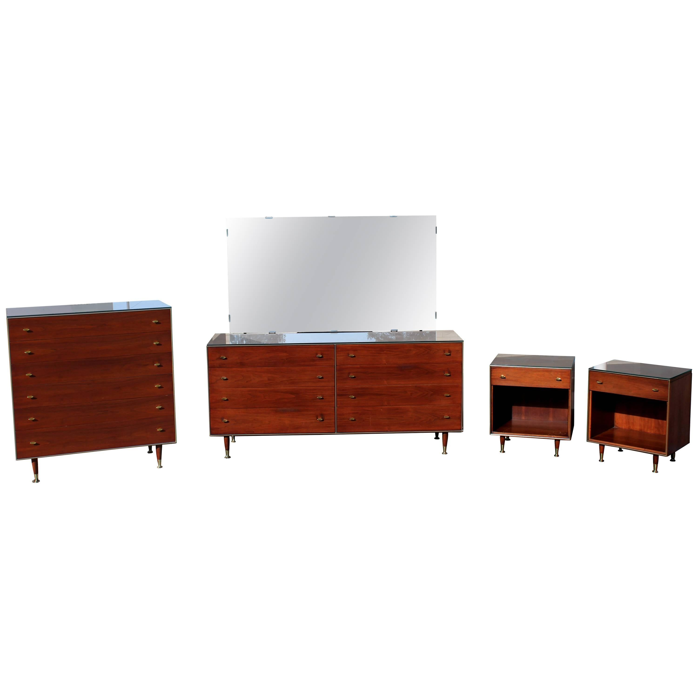 Mid Century Modern R Way Walnut Bedroom Set Highboy Dresser Pair,  Nightstands