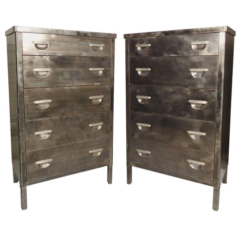 Pair of Tall Metal Dressers Restored