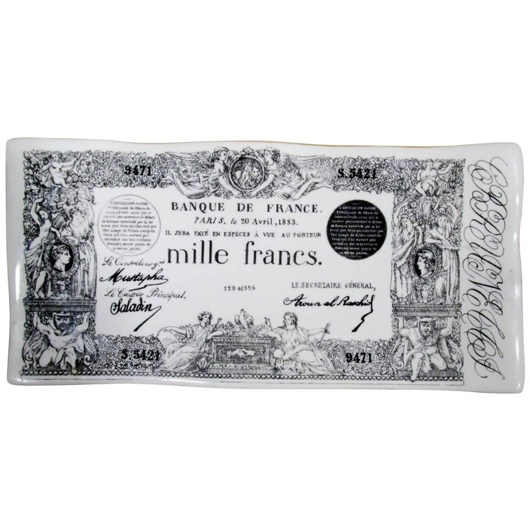 Early Piero Fornasetti Ceramic Mille Francs Vide Poche Tray 1