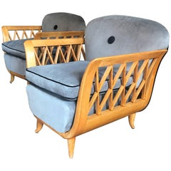 Paolo Buffa Design Pair of Italian  Lotus Shape Lounge Chairs or Armchairs 1940s