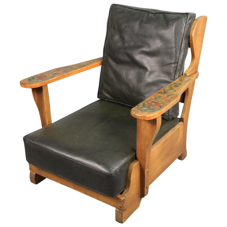 Signed Monterey Armchair with New Dark Green Leather Upholstery, circa 1930s