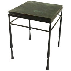 Small Brutalist Style Square End Table with Bronze Patinated Finish Top