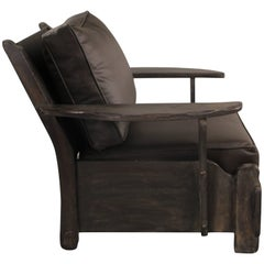 Antique Rancho Monterey Period Armchair with New Leather Upholstery, circa 1930s