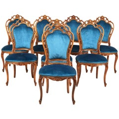 Vintage Set of Eight Italian Carved Walnut Rococo Style Chairs, circa 1950