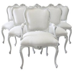 20th Century French Painted Louis XV Style Dining Chairs