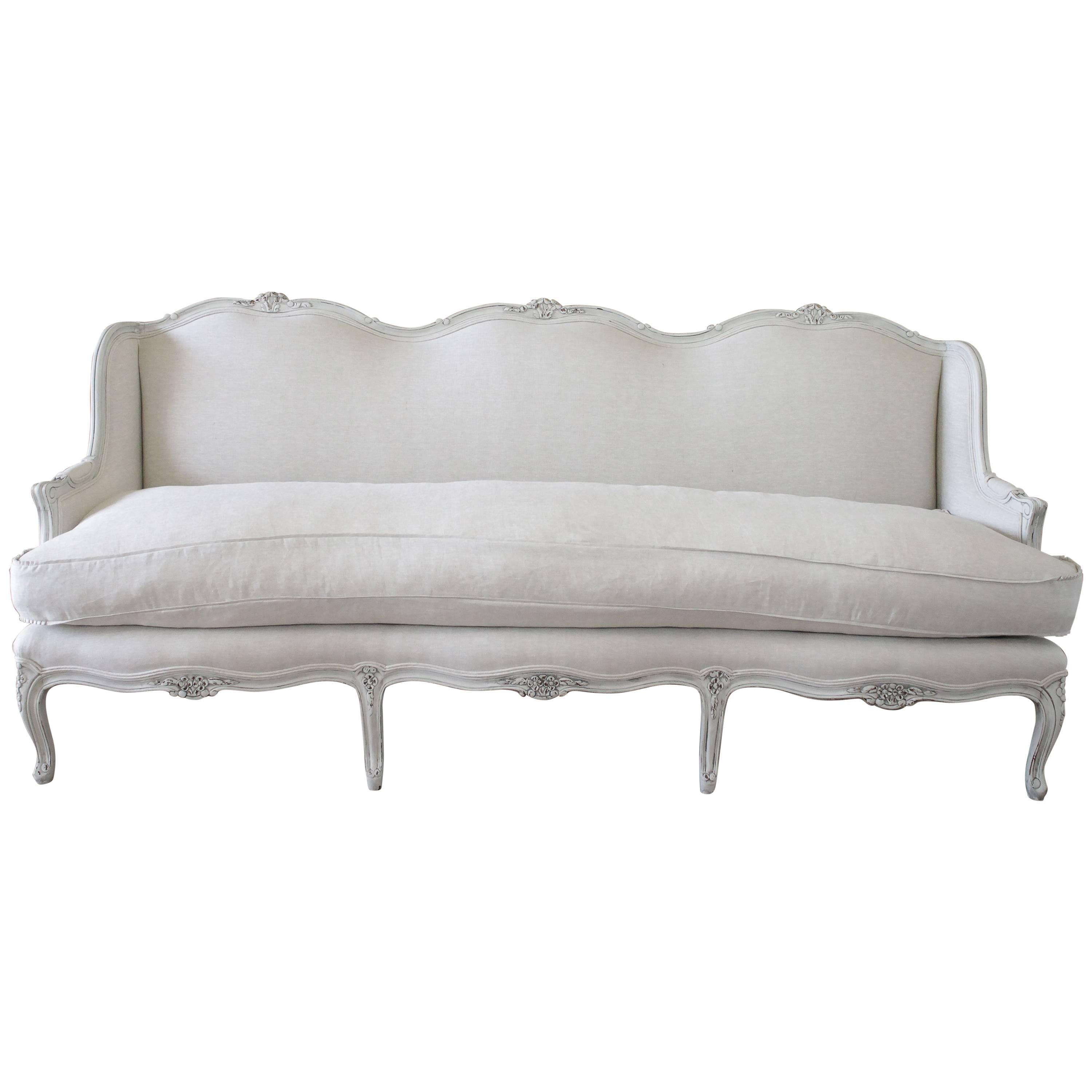 20th Century Painted And Upholstered Country French Sofa In Belgian Linen