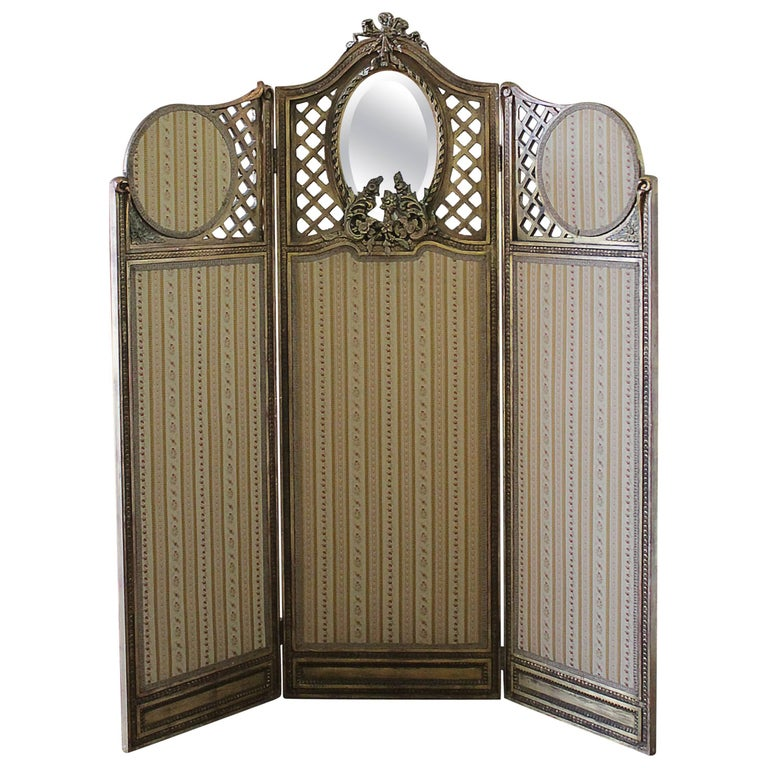 19th Century Carved Giltwood and Upholstered Three-Panel Dressing Screen