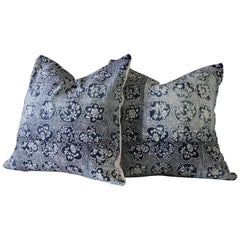 Vintage Japanese Blue Indigo Block Printed Pillows