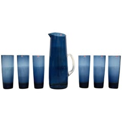 Vintage Timo Sarpaneva for Iittala Pitcher and Glass Set in Blue