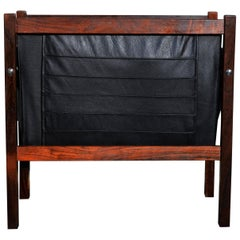 Danish Modern Rosewood and Black Leather Magazine Rack