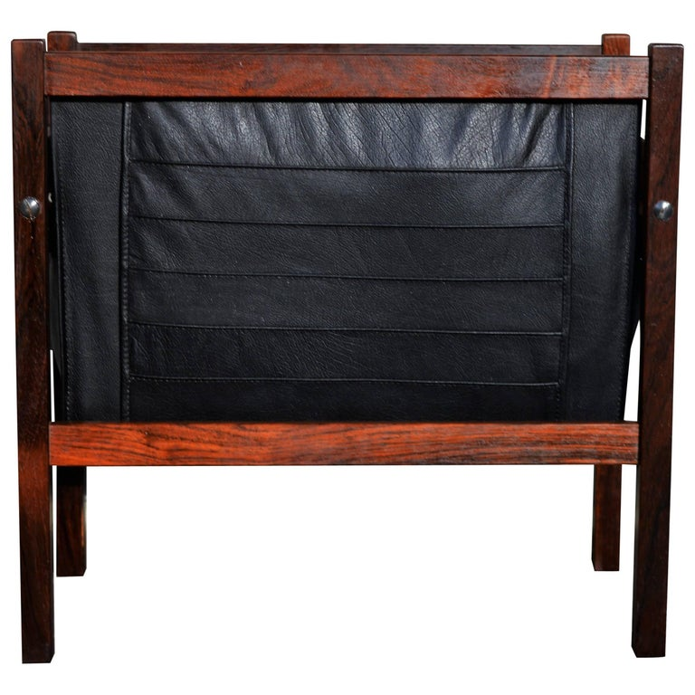 Danish Modern Rosewood and Black Leather Magazine Rack For Sale