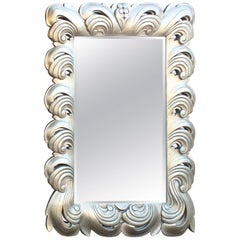 Huge Large Silver Leaf Decorative Frame Mirror