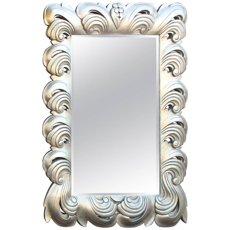 Huge large silver leaf decorative frame mirror for sale at for Large silver decorative mirrors
