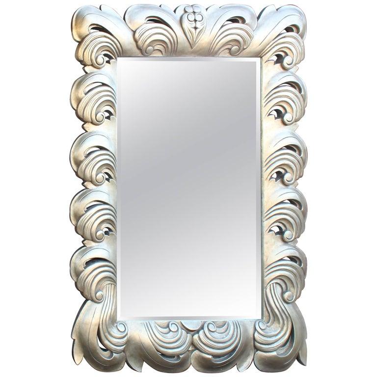 Huge Large Silver Leaf Decorative Frame Mirror