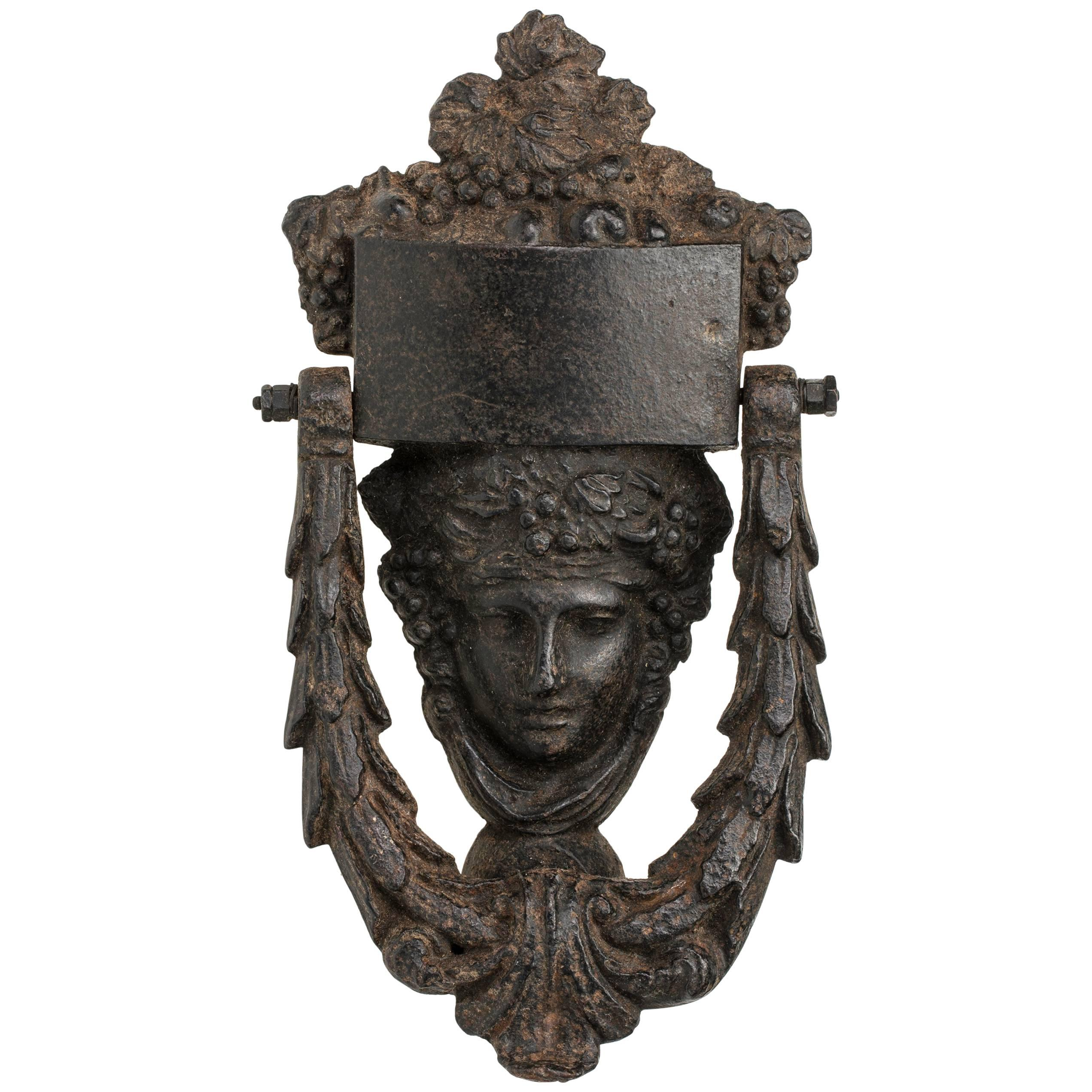 Antique French Athena Face Iron Door Knocker