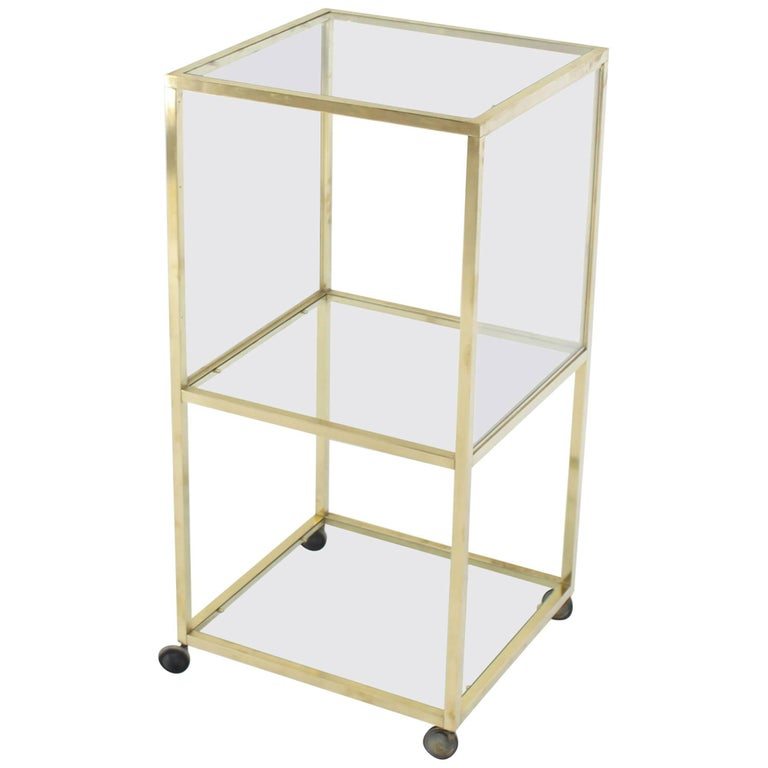 Brass Square Profile Glass Three-Tier Cube Shape Cart Wheels Display Cabinet
