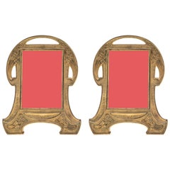 Antique Gilt Bronze Art Nouveau Picture Frames, Pair