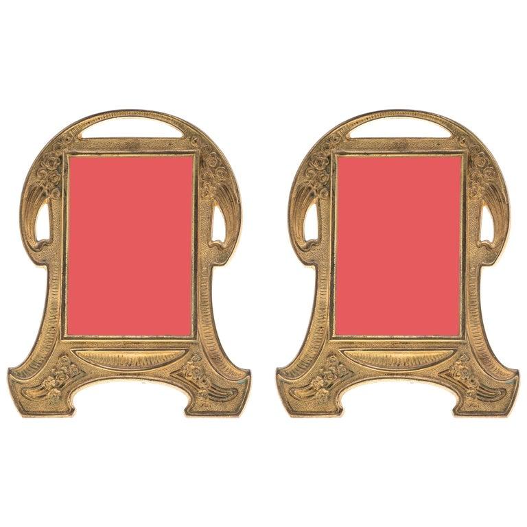 Antique Gilt Bronze Art Nouveau Picture Frames, Pair