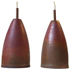 Pair of Midcentury Danish Copper Pendant Lights with Red Patina