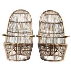 Pair of 1960s Italian High Back Rattan Chairs
