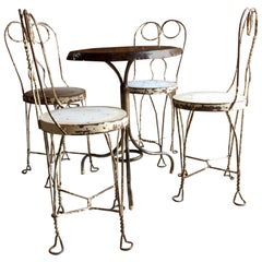 French Bistro Table and Four Chairs Original Wrought Iron, circa 1920s
