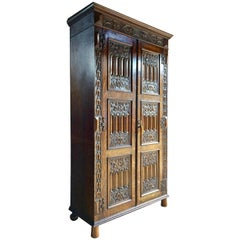 Antique Oak Wardrobe Hall Cupboard Gothic Heavily Carved, 19th Century