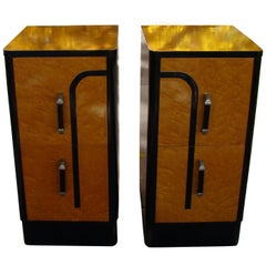 Art Deco Machine Age Style Pair of Nightstands or Side Tables