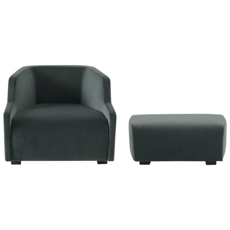 Gallotti & Radice First Armchair and Ottoman in Fabric or Leather